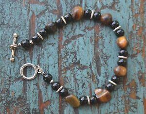 Handmade tiger eye bracelet men Christmas gift for boyfriend, black onyx jewelry