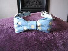 "HOLLY & LIL LEATHER DOG BOW TIE PALE BLUE COLLAR & CREAM DOTS  size 9.5""-12.5"""