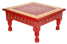 Antique Style Wood Paint Low Table Square End Side Corner Table Chowki (Red) 28'