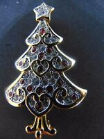 SWAROVSKI 1999 CLEAR PAVE RED TINY CABOCHON ORNAMENTS BROOCH IN GOLD PLATED SET