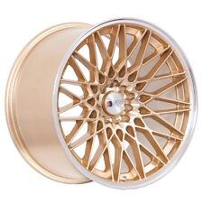 "18"" F1R F23 Wheels 18x8.5 5x100/5x114.3 38 Gold Polish Lip Rims Custom New Inch"
