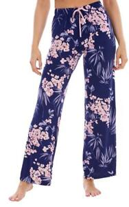 Ladies Blue Floral PJ'S Pyjama Bottoms Nightwear-DIFFERENT LEG LENGTHS AVAILABLE