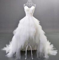 Ruffles white/ivory wedding dress Bridal custom size Plus Size Off Shoulder NEW