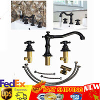 Widespread Bathtub Faucet 2 Handle Bathroom Sink Faucet Oil Rubbed Bronze 3 Hole