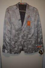 Tallia Orange Men's Modern-Fit Gold Leaf-Print Dinner Jacket