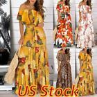Women Off-Shoulder Floral Ruffle Frill Long Dress Sexy Party Maxi Sundress US