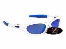 RayZor Uv400 White Sports Wrap Sunglasses Blue Mirrored Lens RRP£49 (478)