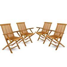 DIVERO 4er Set Gartenstuhl mit Armlehne massiv klappbar Teak Holz vorbehandelt