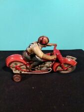 Antique Vintage Technofix Tin Litho Motorcycle Wind Up Toy US Zone Germany Works