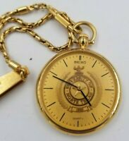 SEIKO (5Y30-0A19) Pocket Watch with 35mm Case and Gold Plated FOB/Chain