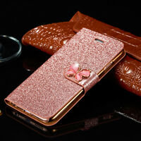 Luxury Leather Magnetic Flip Stand Bling Wallet Cover Case For iPhone x 8 6s 7