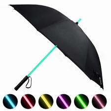 LED Umbrella, Black Men Golf Umbrella with 7 Color Changing Shaft Torch. A Black