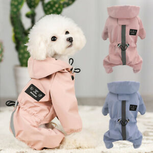Reflective Dog Rain Coat Waterproof Hooded Jumpsuit Clothes for Small Medium Dog
