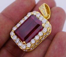Mens 8 Carat Diamonds & Red Gemstone Pendant Heavy10k Gold Valentineday Spl.Sale