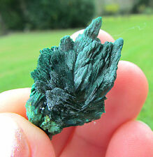 :)  Fantastic Fan Like Shimmering Green Acicular Malachite Crystals  :)