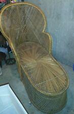 Vintage Wicker Rattan Chaise Lounge Fan Chair RARE