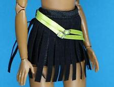 Sparkle Girlz Black Yellow Belt Faux Leather Fringe Skirt fits Barbie  Doll