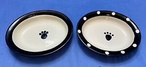 """NEW Petrageous Designs Dog-Food/Water Bowls Oval 6.25"""" Handcrafted Stoneware"""