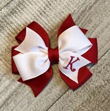 Red Monogram Toddler Hair Bow