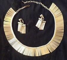 Wonderful Vintage Fringe Necklace & Earrings, Marked A-A Pat. Pend.
