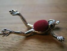Edwardian Style English Hallmarked Sterling Silver Frog Pin Cushion - Red Velvet