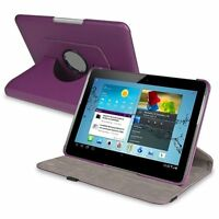 """360-Swivel Leather Case for 10.1""""Samsung Galaxy Tab 2 10.1 P5100/P5110 Purp W3I3"""
