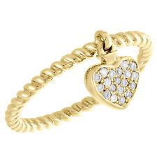 Braided Right Hand Ring 1/10 Ct. 10K Yellow Gold Round Diamond Dangling Heart