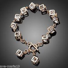Stellux Austrian Crystal 12 pcs Cube Charm Women Bracelet 18K Real Gold Plated