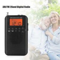 HRD-104 Pocket 2-Band AM/FM Radio Stereo Double Band Digital Radio with Earphone