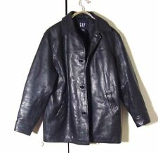 Vtg Rugged Black Leather Gap Button Jacket Sz M