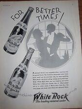 1932 Vintage White Rock Ginger Ale Sparkling Water Bottle Couple Dancing Ad