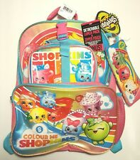 NWT Shopkins Girl's Rainbow/Pink Backpack & Lunch Box Set + Pencil Pouch