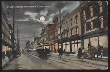 Postcard LONDON Ontario/CANADA  Douglas St Business Storefronts Night view 1905