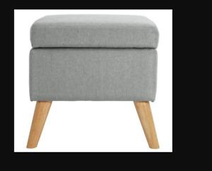 Lexie Storage Footstool in Grey