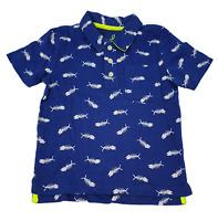 Ex Mini Boden Boys Polo Top T-shirt Blue Fish Bones design 2-12yrs NEW