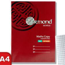Lot de 2 A4 Maths Exercise Book Pad 120 Square pages couverture souple