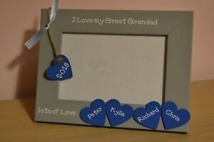 Personalised handmade photo frame - I LOVE MY GREAT GRANDAD / GRANDMA GIFT