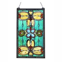Stained Glass Rosettes & Marquee Cabochons Tiffany Style Window Panel 15W x 26T