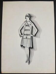 Orpha Klinker Original 1920's Signed Drawing Illustration Of Fashion On Board