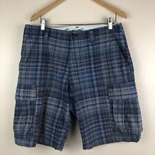 Eddie Bauer Men's Blue Plaid Bermuda Shorts Size 32