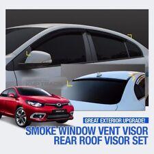 Smoke Window Vent Visor + Rear Spoiler Molding For RENAULT 2010 - 2017 Fluence