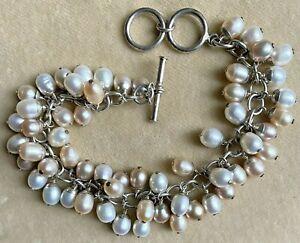 "STUNNING STERLING SILVER SILPADA Genuine Pearl Dangle Bracelet Adjusts 7 1/2-8"""