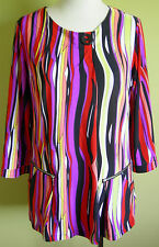 Ladies Womens Retro 3/4 Sleeve Stretch Tunic Top Blouse Shirt Leesa Size 10