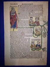 Blatt XIIII, Schedel Weltchronik 1493, STAMMBAUM NOAH - LINIE CHRISTI, koloriert