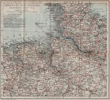 Nordwest-Deutschland. NW Alemania. Sajonia Schleswig-Holstein 1913 Mapa