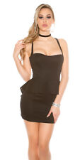 BLACK SEXY DRESS LBD BACKLESS MESH KEYHOLE PEPLUM TAIL STRAPPY SIZE 12 MEDIUM