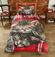 """Rapport """"Cuddle Cats"""" Let's Cuddle Easy Care Duvet Cover Bedding Set Red / Multi"""