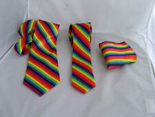 """Multi-Rainbow-Mens Tie>Classic 3.3""""=8cm OR Skinny 2.5""""=6cm-OR Hanky Only-OR Sets"""