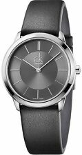 Men's Calvin Klein Minimal Black Leather Band Watch K3M221C4