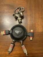 "Prada  Black ""Saffiano"" Leather Robot Keychain"